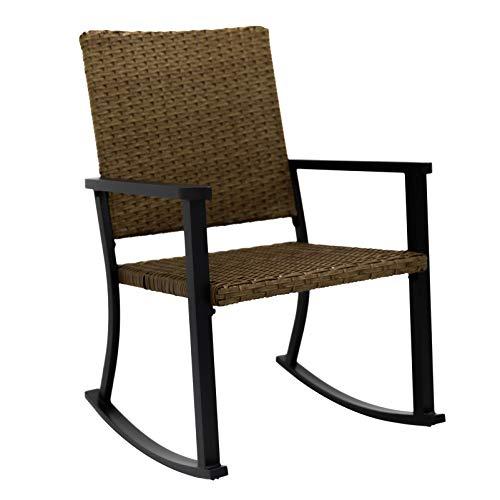 C-Hopetree Outdoor Schaukelstuhl für Außenterrasse Veranda, Metallrahmen, natürliche Allwetter Korbweide