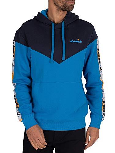 Diadora Uomo Felpa con Cappuccio 5Palle Offside Pullover, Blu, L