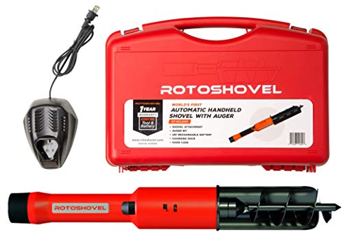 RotoShovel Roto1 22 Inch Electronic Handheld Lithium Ion Battery Powered Aluminum Steel Digging and Scooping Shovel with Automatic Shutoff, Red
