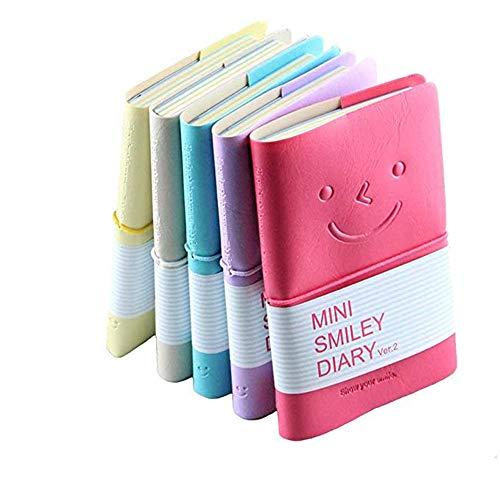 Mini Smiley Notizbuch, CRIVERS Smile-Design Tagebuch/Tagebuch mit Gummiband, Eines der modischsten Notizblöcke mit Kunstlederbezug (Zufällige Farbe, 5er-Pack)