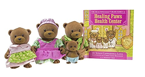 Li'l Woodzeez Bear Family Set  Healthnuggle Bears with Storybook  5pc Toy Set with Miniature Animal Figurines  Family Toys and Books for Kids Age 3+, Brown/A