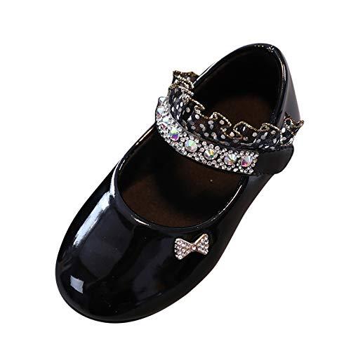 Topgrowth Scarpe da Bambina Pelle Eleganti Ballerina Ragazze Casuale Scarpe da Principessa Danza Sneaker (31, Nero)
