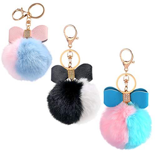 PRETYZOOM 3pcs Pom Poms Keychains Fluffy Pompoms Keychain Faux Fur Key Ring Chain Pompoms Keyring Women Girls Bag Pendant Accessories Random Color