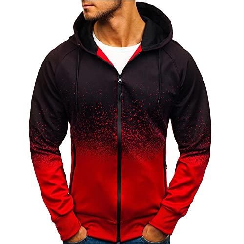 Dasongff - Sudadera con capucha y cremallera de corte ajustado, diseño con degradado de color