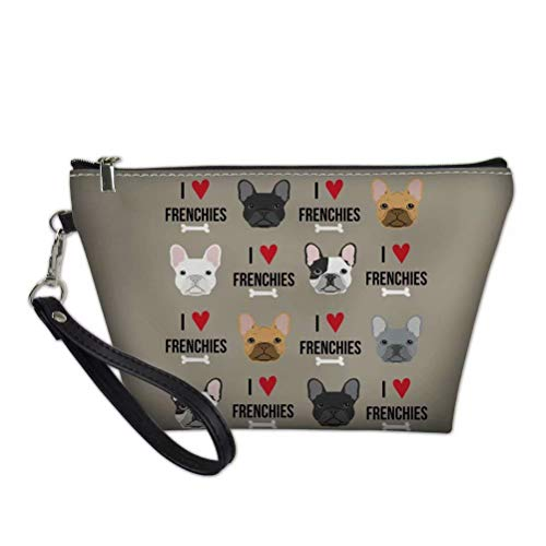 INSTANTARTS Cute French Bulldog Pattern PU Leather Women's Outdoor Fashion Portable Makeup Bag with Zipper Travel Accessories
