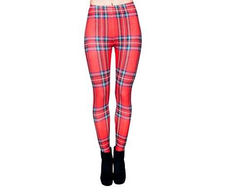 Hanessa vrouwen Leggings bedrukte leggings cadeau voor Kerstmis broek lente zomer kleding Schotse rok outfit L144