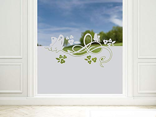 GRAZDesign Sichtschutzfolie Schmetterlinge/Blumen, blickdichte Glasdekorfolie, Matte Fensterfolie als Sichtschutz / 80x57cm