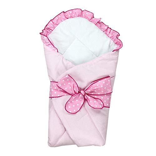 TupTam Unisex Baby Einschlagdecke mit Schleife, Farbe: Rosa, Größe: 70 x 70 cm