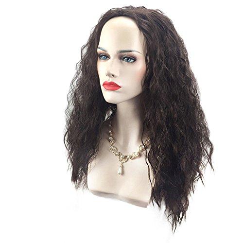 OHQ Perruque Cosplay Noir Longue Shaggy Vague Marine Romance Moana Femme Naturelle Vrai Cheveux Naturel Courte Bresilienne Blonde Afro BréSilien Brune (Noir)