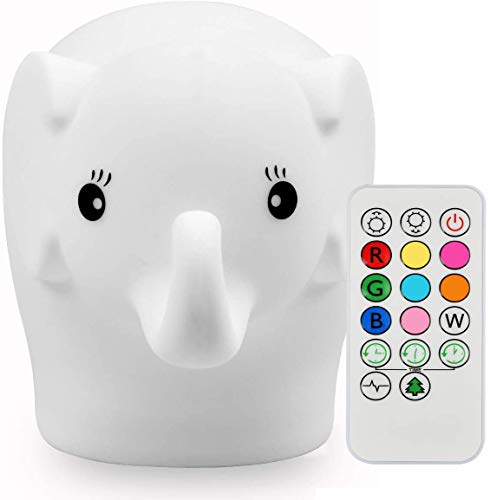Luz nocturna para niños, Tianhaixing Lámpara LED linda de elefante de silicona Lámpara de cabecera - 9 colores que cambian/USB recargable/Control remoto/táctil Regulable Luz nocturna