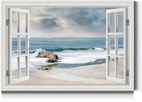 Renditions Gallery Awash on The Shore Open Window Wall Art Calming Beach Artwork Bright Colorful product image