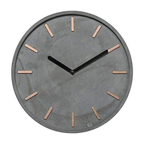 Wanduhr rund aus Zement grau und Metall Kupfer