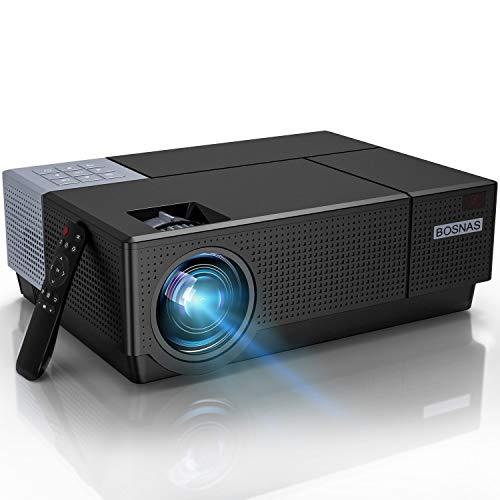 Beamer,BOSNAS B7 Full HD 4k Heimkino 1080P Video-Beamer 7000 LUX LED Tageslicht Beamer Heimkino Hinterhofprojektor im Freien 4D-Trapezkorrektur Kompatibel mit Telefon, PC, TV-Box