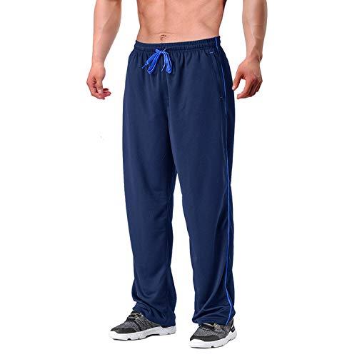 EKLENTSON Herren Streetwear Open Leg Hose Jogging Mesh-Futter Hose Trainingshose mit Reißverschlusstasschen Dunkel Blau, 2XL
