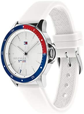 Tommy Hilfiger Women's Stainless Steel Quartz Watch with Silicone Strap, White, 18 (Model: 1782029) WeeklyReviewer