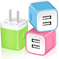 3-Pack X-Edition 2.1A Dual Port USB Plug Power Adapter USB Wall Charger