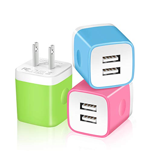 X-EDITION USB Wall Charger, 3-Pack 2.1Amp Dual Port Power Adapter USB Plug Charger Charging Block Cube Compatible with iPhone Xs Max XR X 8 7 6 Plus 5S, Samsung, LG, HTC, Moto, Kindle, Android Phone