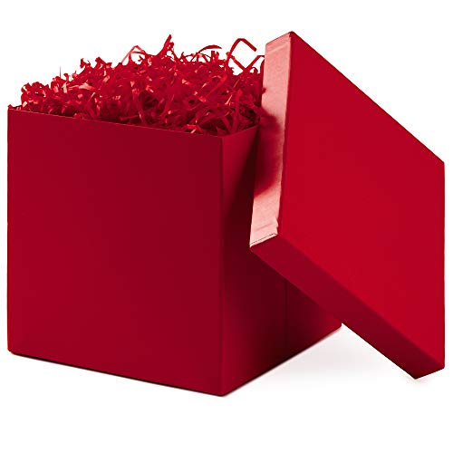 Hallmark 7' Gift Box with Lid (Red) for Christmas, Birthdays, Father's Day, Bridal Showers, Weddings, Baby Showers, Valentine's Day and Graduations