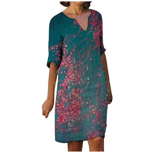 Dasongff Damen Sommerkleid Elegant V-Ausschnitt Freizeitkleid Leinenoptik Leinenkleid Knielang Lange Blumenmuster Blusenkleid 1/2 Langarm Retro...