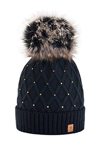 morefaz Femme Beanie Cristaux Chapeau Hat Crystal Grande Pom Pom Bonnet d'hiver Chaud Doublure Polaire (Black) MFAZ Ltd