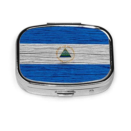 Nicaragua Textura de madera Bandera de Nicaragua Caja personalizada Pastillero/Pastillero/Pastillero cuadrado