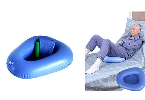 Portable Air Cushions Bedpan, Inflatable Potty Bedside Toilet Nursing Urinals for Bedridden Elder Bedbound Patient Healthcare, Blue