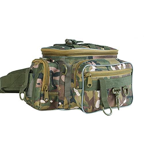 WMLBK Bolsa de pesca grande, bolsa de aparejos de pesca, mochila impermeable para acampar al aire libre (camuflaje)