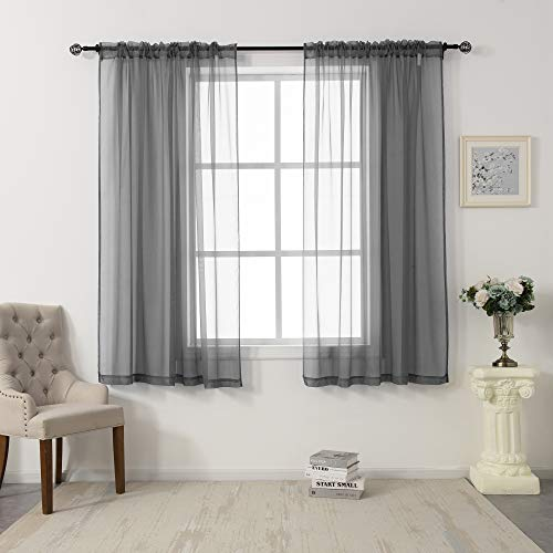 2 Panels Sheer Voile Curtains Draperies - Window Treatment Rod Pocket Light Filtering Curtains Drapes Panels for Bedroom Living Room Party Backdrop, Grey, 52 Inch by 63 Inch