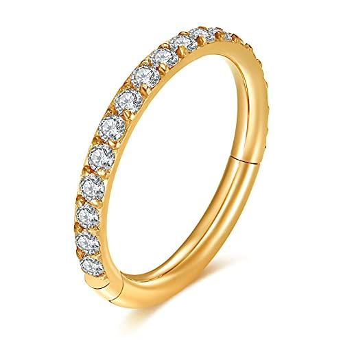 VFUN 16G Acero Inoxidable Hinged Clicker Ring Piercing Septum Nariz Anilli para Mujer Hombre CZ Inlaid Aros Piercing Oreja Cartilago Helix 10MM - Oro