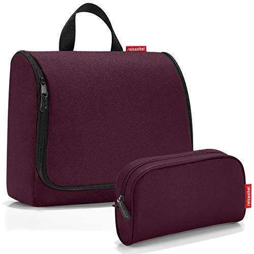 reisenthel Exklusiv-Set: toiletbag XL 28x25x10cm große Kulturtasche zum aufhängen aufklappbar + GRATIS makeupcase (aubergine)
