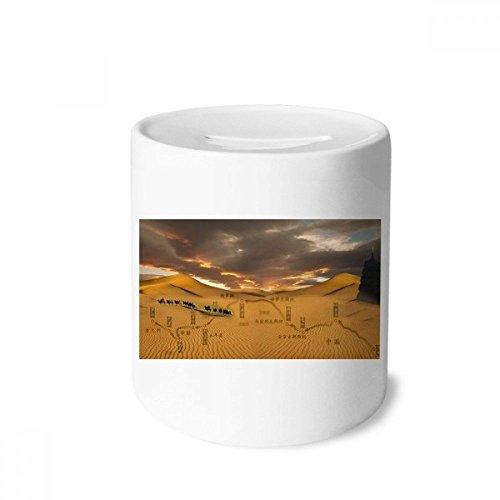 DIYthinker Map - Hucha de cerámica, diseño de mapa del desierto a lo largo del camino a la seda, color blanco