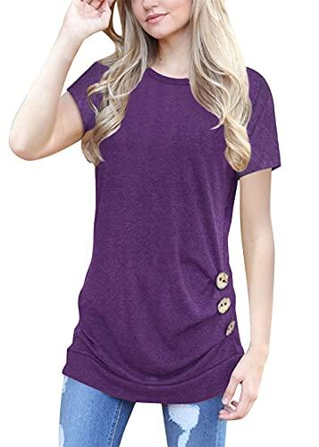 Camiseta para Mujer Sudadera de Manga Corta Top Casual de Color sólido Top de Manga Corta para Mujer Casual de Verano con Cuello Redondo Dobladillo Superior Camiseta Henry con Botones para Mujer