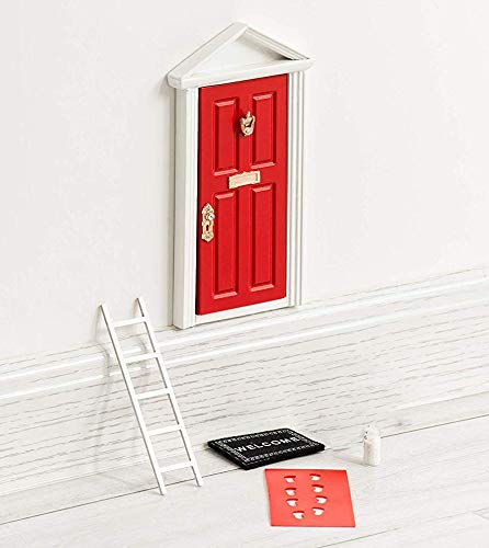 The Red Miniature Tiny Wooden Tooth Fairy Door Birthday Gifts for 3,4,5,6,7 Year Old Girls Boys/Fairy Doors and Accessories Fairy Tale idea Craft Activities for Kids Present