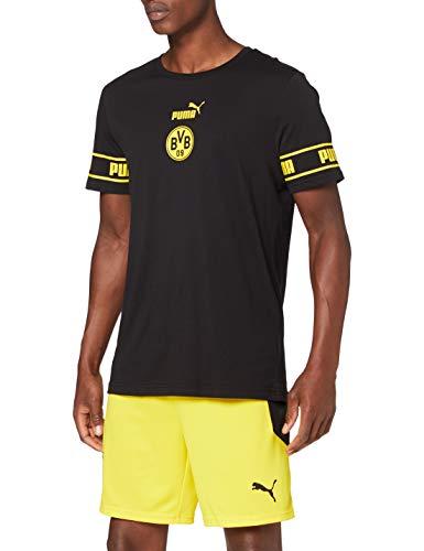 PUMA Herren T-Shirt BVB ftblCulture Tee, Puma Black-Cyber Yellow, XXL, 758107