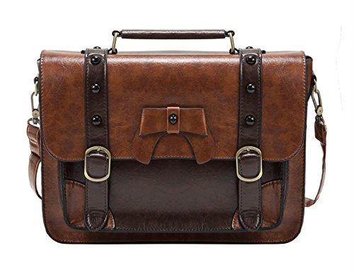 ECOSUSI Umhängetasche Damen Vintage Schultertasche Handtasche 32,5 x 25,4 x 8,9 cm Braun