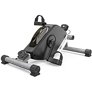 TECHMOO Pedal Exerciser Compact Magnetic Peddler Stationary Cycle Bike Mini Under Desk Exercise Workout Bike for Legs Arms Portable Indoor Office Low Impact Fitness Exercise with Adjustable Resistance