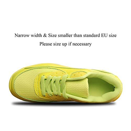 Mujer Zapatillas de Deporte con Amortiguación de Aire Zapatos con Cordones Transpirables para Caminar Correr Amarillo EU 35