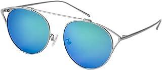 Fashion Round Frame Sunglasses Men and Women Fashion Sunglasses UV400 Black Blue Sunglasses Retro (Color : Blue)