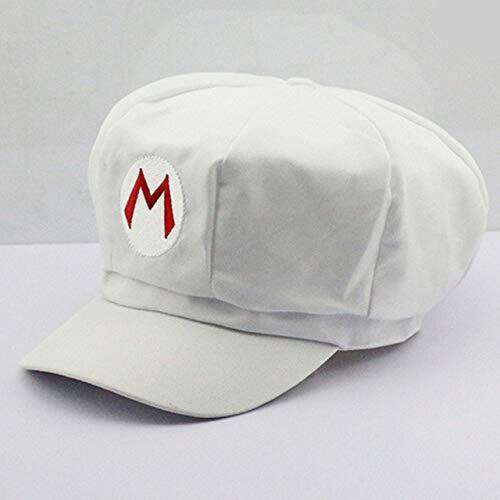 Super Mario knuffels katoenen petten Mario Luigi Wario Waluigi Cosplay hoed rood wit paars geel groen kleuren Holloween Gift, wit