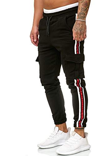Cindeyar Herren Jogginghose Sportshose Trainingshose Jogger Hose Slim Fit Lang Sweatpants Streifen Freizeit Hosen(bk,l)