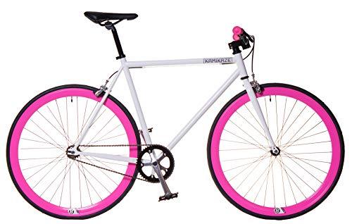 Kamikaze Bicicleta Fixie Blanca Rosa (M)