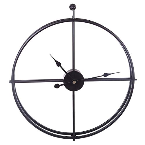 aipipl Uso en el hogar 60CM XXL Reloj de Pared Grande Metal, Wall Art Reloj silencioso Decorativo sin tictac para Sala de Estar Oficina Negro