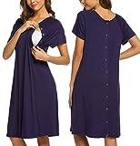 Ekouaer Nursing Nightgown Women's Short Sleeve Maternity Sleepwear for Breastfeeding(Dark Purple,S)