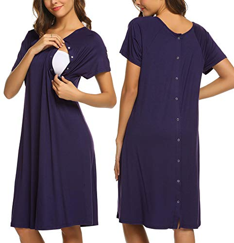 Ekouaer Nursing Dress Maternity Nightgown Women's Delivery/Labor Breastfeeding Sleep Dress(Dark Purple,L)