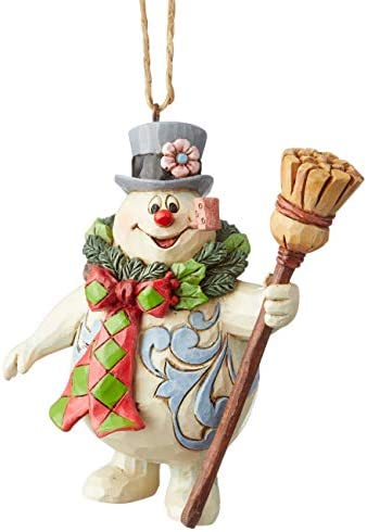 Enesco Snowman by Jim Shore Frosty with Wreath Hanging Ornament 4 Inch Multicolor product image