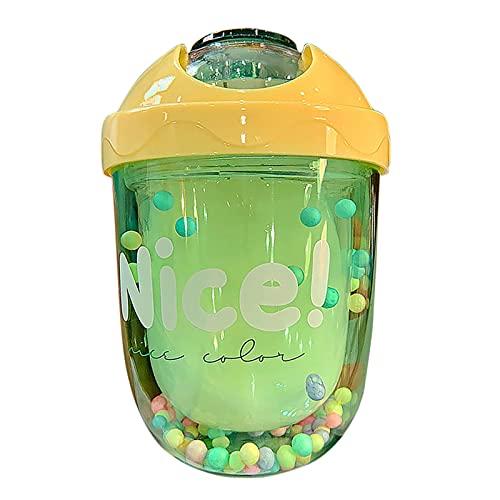 Vaso de viaje con tapa, aislado de doble pared reutilizable a prueba de fugas, de plástico, creativo, doble taza de plástico (verde)