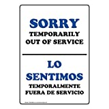 Sorry Temporarily Out of Service English + Spanish Sign, 14x10 in. Aluminum for Restrooms by ComplianceSigns