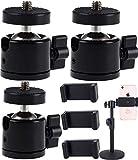 Tripod Head,Biluer 3 Set Mini Cabeza de Bola 360 Degree Swivel Ball Head Hot Shoe Adapter Rótula de Trípode Compatible Soporte for Camera/Camcorders/LED Light