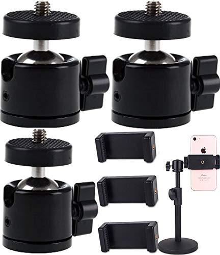 Tripod Head,Biluer 3 Set Mini Cabeza de Bola 360 Degree Swivel Ball Head Hot Shoe Adapter Rótula de Trípode Compatible Soporte for Camera Camcorders LED Light