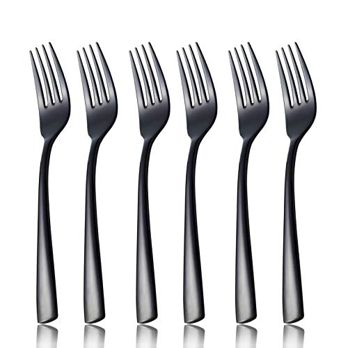 Dessert Salad Fork Set Black 6 Piece 18/8 Stainless Steel 7.8 inch Dinner Table Forks Service for 6 Silverware Flatware Utensils Dinner Dishwasher Safe Mirror Polished by OMGard